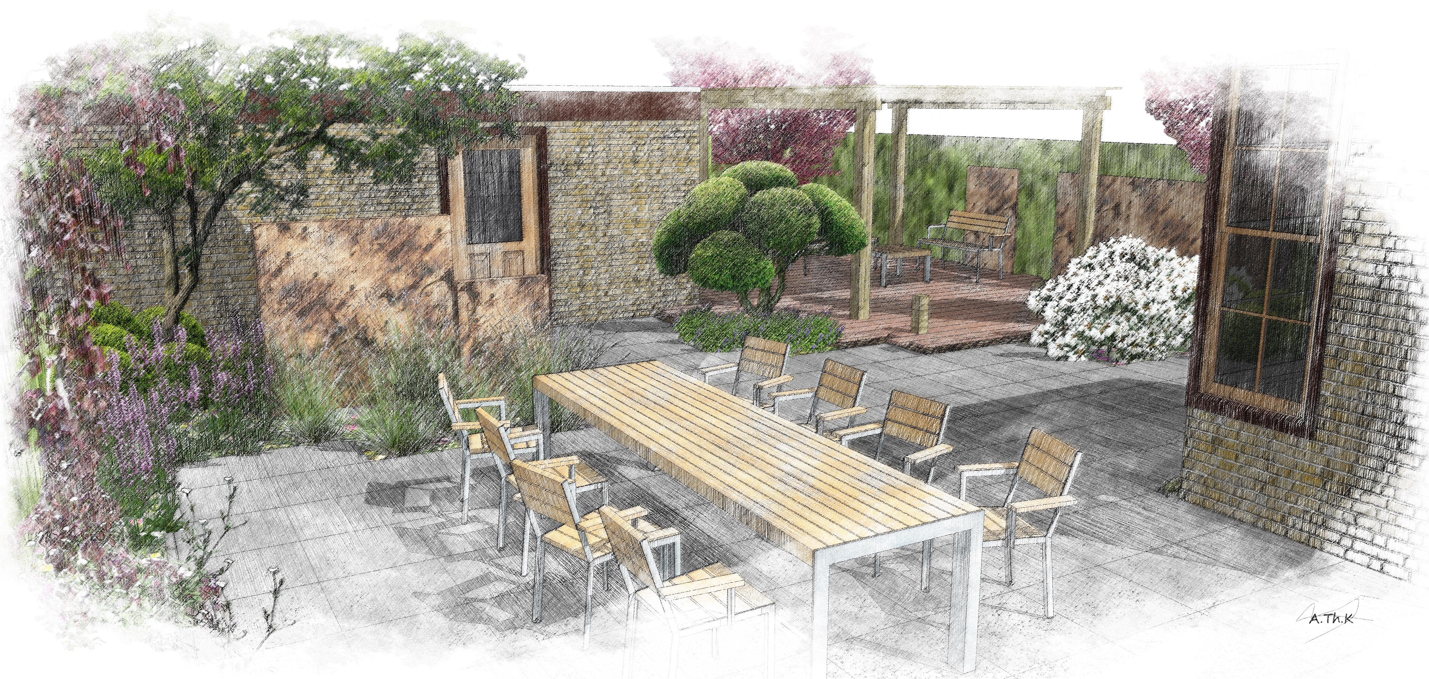 Voorbeelden tuinontwerp tuinaanleg tuinonderhoud for Kleine stadstuin voorbeelden