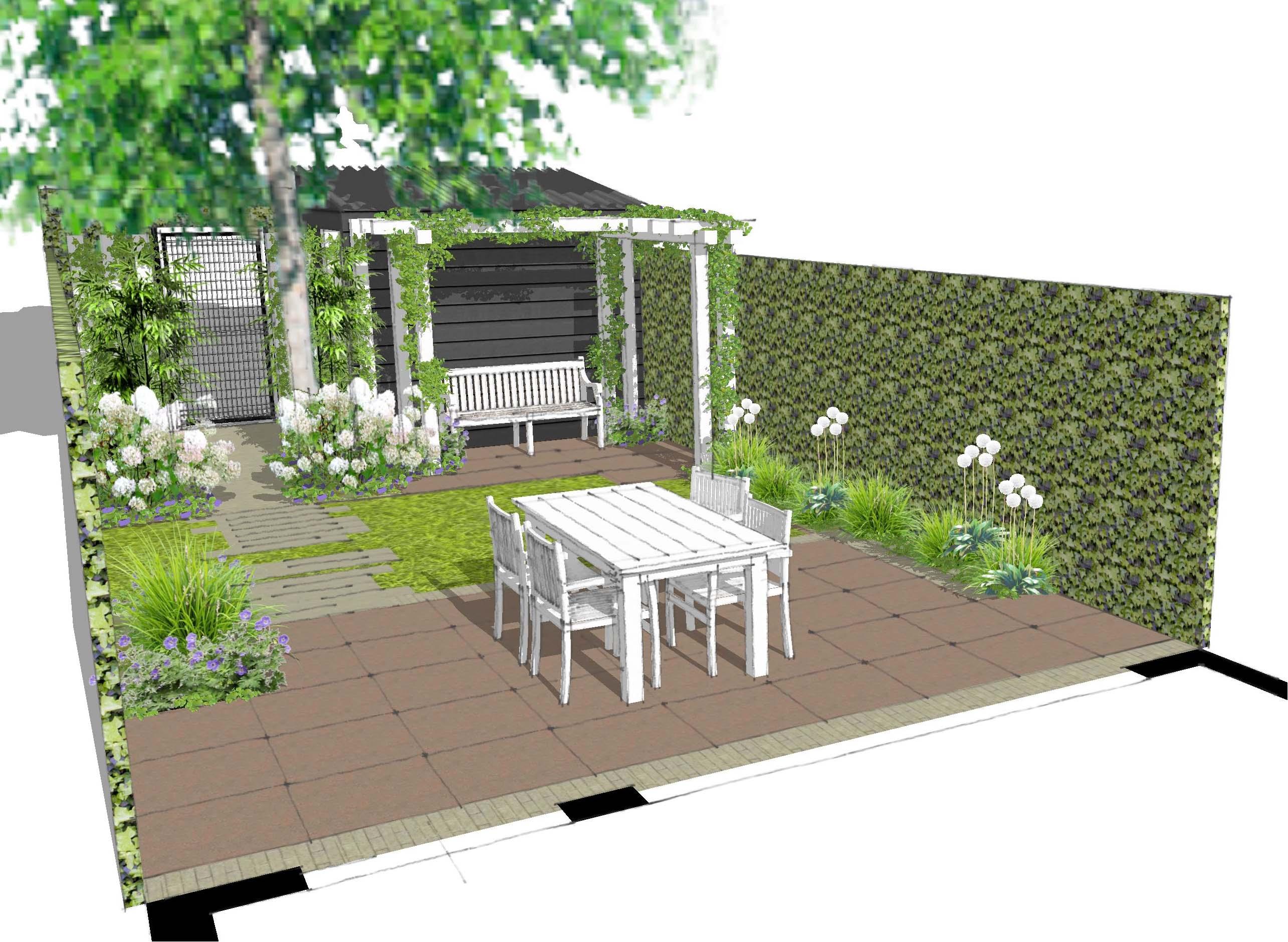 Voorbeelden tuinontwerp tuinaanleg tuinonderhoud for Eenvoudige tuinontwerpen